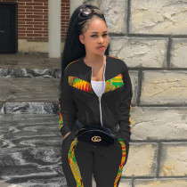 Casual Patchwork Tracksuit Two Piece Sets TCF-019