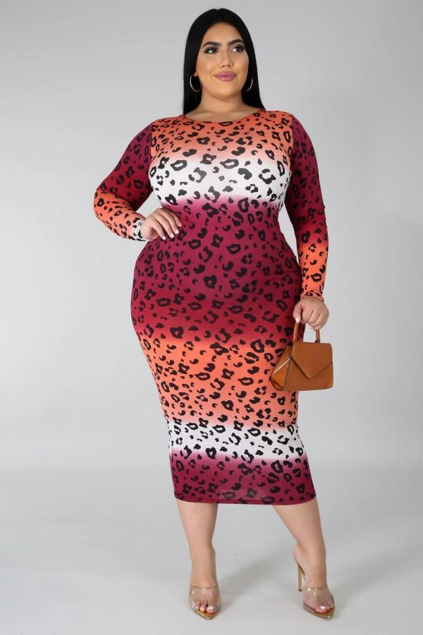 Plus Size 5XL Leopard Print Gradient Midi Dress BMF-046
