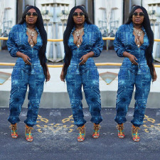 Plus Size Casual Loose Long Sleeve Jumpsuits YFS-3598