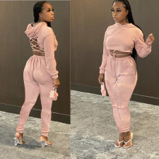 Plus Size Solid Color Fashion Lace Up Long Sleeve Hooded Top And Pants Two Piece Set LLF-8833