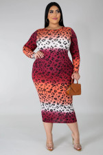 Plus Size 5XL Leopard Print Full Sleeve Long Dress OSM2-3307