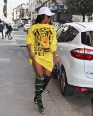 Round Neck Loose Casual Printing Fashion T-shirt Dress XMF-007