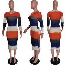 Colorful Striped Long Sleeve Slim Midi Dress HMS-5388