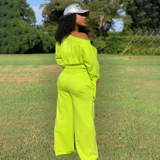 Plus Size Solid Color Knotted Long Sleeves Top And Wide Leg Pants Two Piece Set LLF-8829