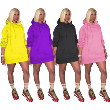 Casual Solid Long Sleeve Hoodie Dress MTY-6372
