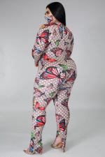 Plus Size 5XL Butterfly Print Zipper Split Jumpsuits Without Mask BMF-045