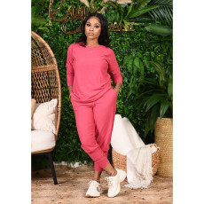 Plus Size Solid Long Sleeve Two Piece Pants Set YNB-7129