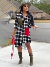 Fashion Plaid Irregular Shirt Dress OM-1099-1