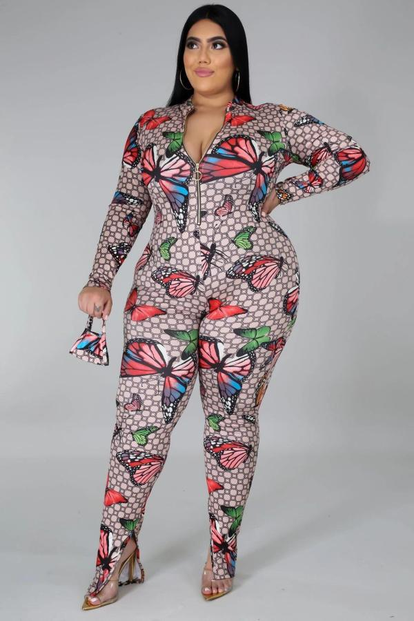 Plus Size 5XL Butterfly Print Zipper Split Jumpsuits Without Mask BMF-045