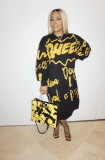 Plus Size Full Sleeve Loose Printed Long Dress YIY-5226