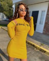 Sexy Rib Printed Long Sleeve Zipper Tight Mini Dress OXF-3887