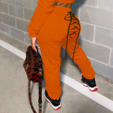 Casual Solid Lace Up Long Sweatpants YS-8712