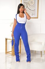 Solid Straps Stacked Jumpsuits Without Mask PIN-8528