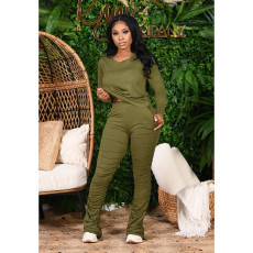 Solid V Neck Long Sleeve Stacked Pants 2 Piece Sets RUF-9700