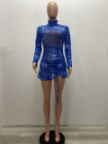 Sexy Mesh Printed Ruched Long Sleeve Mini Dress YSF-428