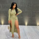 Sexy Ribbed High Split Full Sleeve Maxi Dress YIY-5223