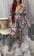 Plus Size Butterfly Print Zipper Split Jumpsuits YM-9254