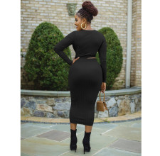 Fashion Sexy Solid Color Long Sleeve Dress OM-1177