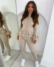 Solid Ribbed Long Sleeve Ruffled 2 Piece Suits YSF-432