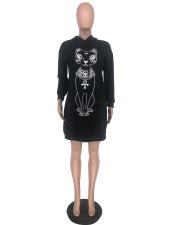 Animal Print Long Sleeve Hooded Sweatshirt Dress SIF-16