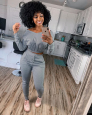 Casual V Neck Long Sleeve Two Piece Pants Set LM-8199