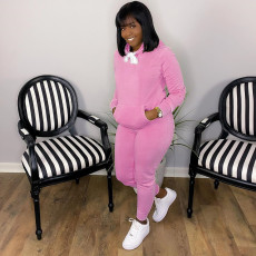 Solid Long Sleeve Hoodies Pants Two Piece Suits HM-6352