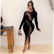 Sexy Lace Up Hollow Out Slim Long Dress YSF-437
