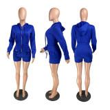 Casual Hooded Zipper Long Sleeve Romper WZ-8332