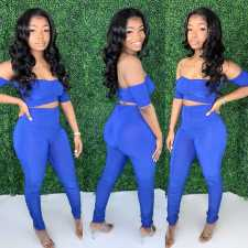 Plus Size Ruched Sexy One word collar Short Top And Pants Two Piece Set SXF-0415