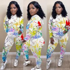 Plus Size Casual Printed Hoodies Two Piece Sets MTY-6351