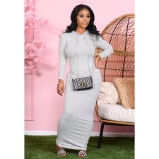 Solid Hooded Long Sleeve Maxi Dress BLX-7540