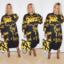 Plus Size Casual Printed Full Sleeve Long Dress CQ-078