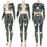 Sexy Printed Lace Up Hollow Two Piece Sets MDF-5177