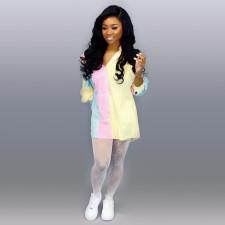Casual Striped Batwing Sleeve Shirt Dress TE-4103
