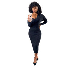 Sexy Long Sleeve Slim Maxi Dress YD-8309
