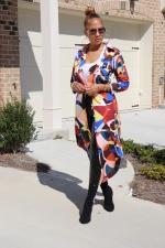 Geometric Print Full Sleeve Long Cloak Coat FNN-8547