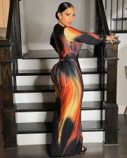 Sexy Printed Deep V Neck Split Sashes Maxi Dress LS-0326