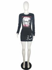 Casual Printed Hole Long Sleeve T Shirt Dress LS-0325