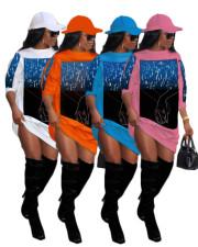 Plus Size Casual Print O Neck Sweatshirt Dress SXF-2967