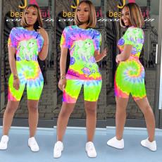 Tie dye Cartoon Print T-shirt Shorts Casual Two Piece Set SXF-0523