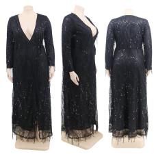 Plus Size Sexy Sequin Tassel Party Club Long Dress CYA-1283