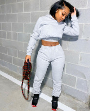 Solid Color Sports Sweatshirt Long Sleeve Trousers Suit RM-6311