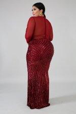 Plus Size 5XL Sexy Sequin Mesh Patchwork Maxi Evening Dress CYA-1085