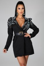 Elegant Hot Drilling Long Blazer Coat Without Belt CYA-8748
