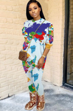 Fashion Map Printed Casual Long Sleeve Pants Suit MUL-155