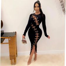 Sexy Hollow Out Lace Up Rib Long Sleeve Club Party Maxi Dress YLF-8052