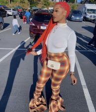 Plus Size Fashion Trend Print Flared Trousers BDF-8039