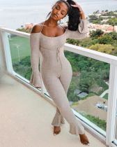Sexy Solid Color Lace-up Flared Jumpsuit JCF-7037