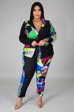 Plus Size 5XL Printed Blazer Coat And Pants 2 Piece Sets CYA-1299