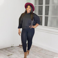Plus Size 5XL Solid Color Casual Sports Long Sleeve And Pants Two Piece Set WAF-7108
